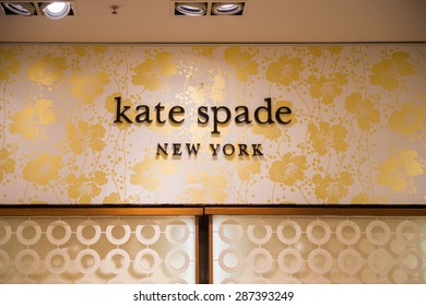 PARIS, FRANCE - JUN 6, 2015: Kate Spade New York section in the Galeries Lafayette city mall. It was open in 1912