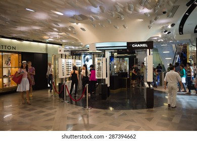 PARIS, FRANCE - JUN 6, 2015: Chanel section in the Galeries Lafayette city mall. It was open in 1912