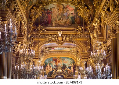PARIS, FRANCE - JUN 6, 2015: Decoration in the Palais Garnier (Opera Garnier) in Paris, France. It was originally called the Salle des Capucines