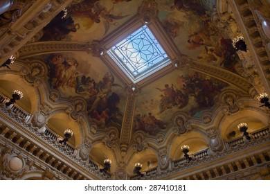 PARIS, FRANCE - JUN 6, 2015: Spectacular interior of the Palais Garnier (Opera Garnier) in Paris, France. It was originally called the Salle des Capucines