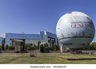 PARIS, FRANCE - JUNE 1, 2015: Housed since 1999 in the Parc Andre Citroen (XVth district), the Ballon de Paris has already initiated more than half a million people to the joys of flying balloon.