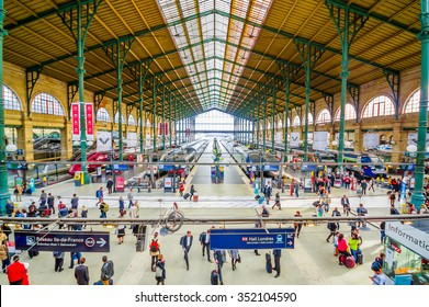 PARIS, FRANCE - JUNE 1, 2015: Gare du Nord station in Paris, with national and international destinations, it is the busiest railway station in Europe