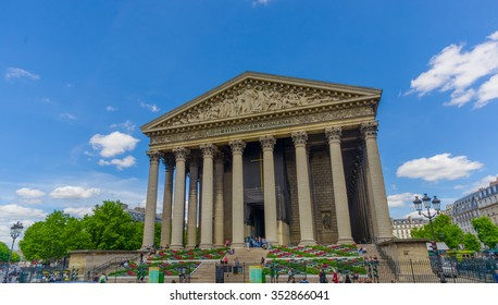 Paris, France - June 1, 2015: La Madeleine Church in the 8th arrondissement of Paris, originally desogned as a temple to the glory of Napoleon's army
