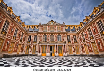 Paris, France - June 1, 2015: Magnificent Marble Court, Cour de Marbre in the Palace of Versailles