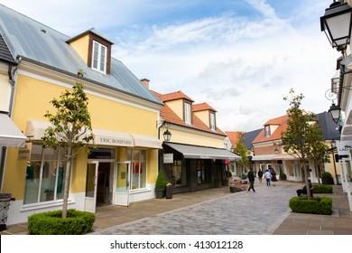 PARIS, FRANCE - JUNE 1, 2015 : La Vallee Village outlet shopping mall  a suburb of Paris, France