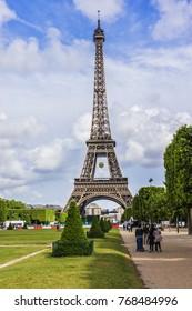 PARIS, FRANCE - JUNE 1, 2015: View of Tour Eiffel (Eiffel Tower). Tour Eiffel on Champ de Mars - most visited monument in the world.