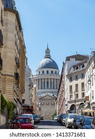 Paris, France - June 1 2019: View of The French Pantheon from rue Valette in Paris.