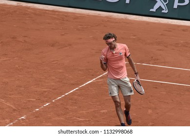 PARIS, FRANCE - JUNE 1:  Alexander Zverev (GER) competes in round 3 at the The French Open on June 1, 2018 in Paris, France.