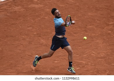 PARIS, FRANCE - JUNE 1:  Damir Dzumhur (BIH) competes in round 3 at the The French Open on June 1, 2018 in Paris, France.