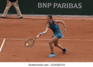 PARIS, FRANCE - JUNE 1:  Daria Kasatkina (RUS) competes in round 3 at the The French Open on June 1, 2018 in Paris, France.