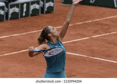 PARIS, FRANCE - JUNE 1:  Madison Keys (USA) competes in round 3 at the The French Open on June 1, 2018 in Paris, France.