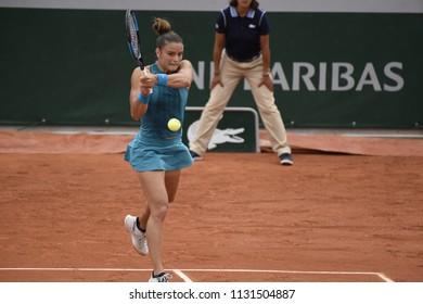 PARIS, FRANCE - JUNE 1:  Maria Sakkari (GRE) competes in round 3 at the The French Open on June 1, 2018 in Paris, France.