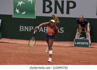 PARIS, FRANCE - JUNE 1:  Naomi Osaka (JPN) competes in round 3 at the The French Open on June 1, 2018 in Paris, France.