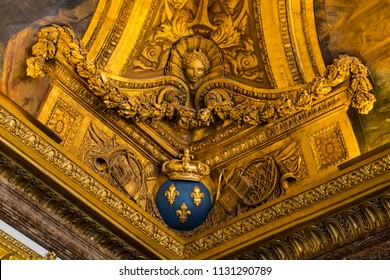 PARIS, FRANCE -  June 10, 2018: Wall decoration in the Palace Versailles. The Palace was the principal residence of the Kings of France from Louis XIV in 1682 until the French Revolution.