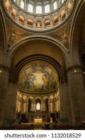 PARIS, FRANCE - June 10, 2018:  Interior Dome of the Basilique du Sacré-Cœur de Montmartre in Paris France
