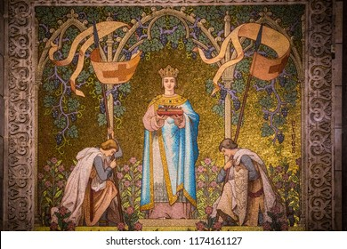 Paris, France - June 10, 2018: A mosaic wall decoration of a prince or king in the Basilica of the Sacred Heart of Paris (Sacré-Cœur Basilica).