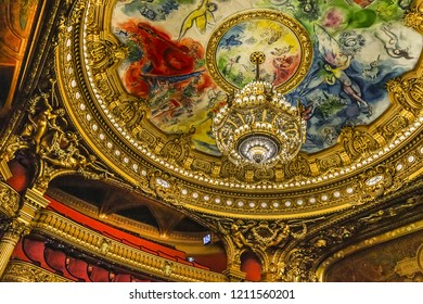 PARIS, FRANCE - JUNE 11, 2015: Auditorium inside of Paris Palais Garnier (Opera Garnier, 1875). Garnier Palace (or Salle des Capucines) was built from 1861 to 1875 for the Paris Opera house.