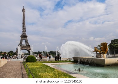 PARIS, FRANCE - JUNE 11, 2018: Beautiful pools and fountains in Tracadero gardens at hill of Chaillot.