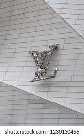 PARIS, FRANCE - JUNE 11, 2018: Modern architecture of Louis Vuitton Foundation (2014). Louis Vuitton Foundation - art museum and cultural center. Fragments of Louis Vuitton building design.