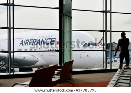 PARIS, FRANCE - JUNE 11: Air France airplanes are seen on Charles de Gaulle International Airport on June 11, 2016 in Paris. Air France announced a pilot strike between 11 and 14 of June.