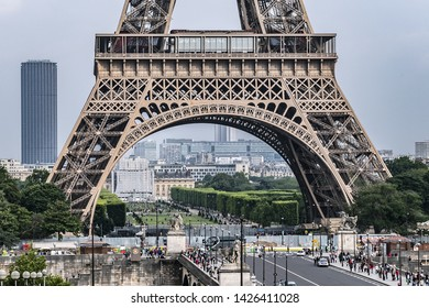 PARIS, FRANCE - JUNE 12, 2018: View of Jena Bridge (Pont d'Iena, 1814). Jena Bridge spanning River Seine in Paris, it links Eiffel Tower on the Left Bank to the district of Trocadero on the Right Bank