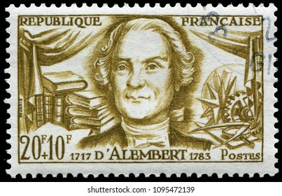Paris, France - June 13, 1959: Jean-Baptiste le Rond d'Alembert(1717-1783), French mathematician, mechanician, physicist, philosopher, and music theorist. Stamp issued by French post in 1959.