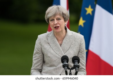 PARIS, FRANCE - JUNE 13, 2017 : The Prime Minister of United Kingdom Theresa May in press conference in the gardens of Elysee Palace about working visit with Emmanuel Macron.