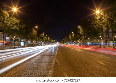 PARIS, FRANCE - JUNE 13, 2017: Chaps Elysees at night, Paris.