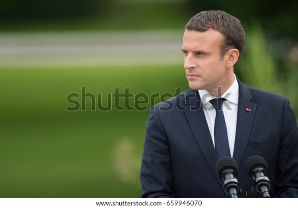 PARIS, FRANCE - JUNE 13, 2017 : The french President Emmanuel Macron in press conference in the gardens of Elysee Palace about working visit with Theresa May.