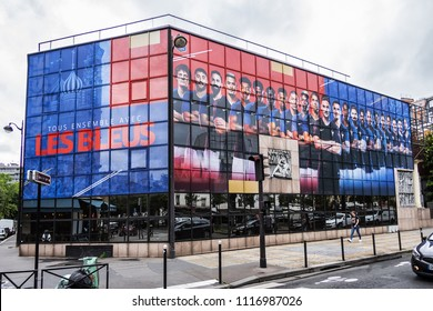 PARIS, FRANCE - JUNE 13, 2018: Building of French Football Federation (FFF) with an image of footballers of French national football team (Les Bleus) participating in 2018 (FIFA) World Cup in Russia.