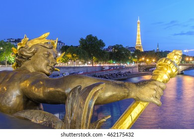 Paris, France - June 14, 2015: The Nymph reliefs are at the centres of the arches over the Seine, memorials to the Franco-Russian Alliance.