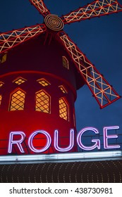 PARIS, FRANCE - JUNE 16, 2016: The Moulin Rouge by night.