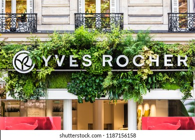 Paris, France - June 16, 2017: The Yves Rocher sign and logo on the store building on Boulevard Haussmann. Yves Rocher was a pioneer of the modern use of natural ingredients in cosmetics