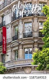 Paris, France - June 16, 2017: The Galeries Lafayette building on Boulevard Haussmann. The Galeries Lafayette is an upmarket French department store chain.