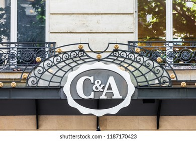 Paris, France - June 16, 2017: The C&A sign and logo on the store building on Boulevard Haussmann. C&A is an international chain of fashion retail clothing stores.