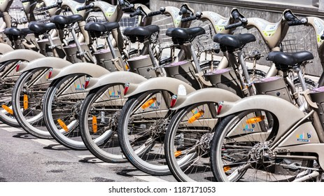 Paris, France - June 16, 2017: Some bicycles of the Velib bike rental service. With the bicing sharing service people can rent bicycles for short trips.