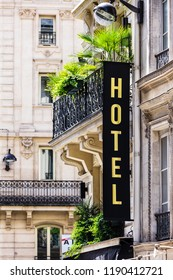 Paris, France - June 16, 2017: Hotel sign on stone facade of a building in Paris