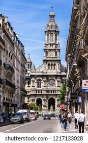 Paris, France - June 16, 2017: Trinity Church (Eglise de la Sainte-Trinite) is a Roman Catholic church located in the 9th arrondissement of Paris.
