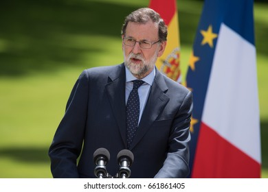 PARIS, FRANCE - JUNE 16, 2017 : The Prime Minister of Spain Mariano Rajoy in press conference in the gardens of Elysee Palace (France) after a working lunch with the French President.