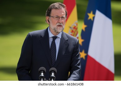 PARIS, FRANCE - JUNE 16, 2017 : The Prime Minister of Spain Mariano Rajoy in press conference in the gardens of Elysee Palace (France) after a working lunch with the