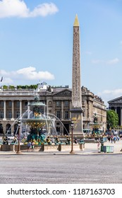 Paris, France - June 17, 2017: The Luxor Obelisk and the Fountain of River Commerce and Navigation at the center of the Place de la Concorde in Paris.