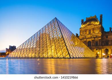 Paris, France - June 18, 2015: night scene of The Louvre Palace and the pyramid in Paris