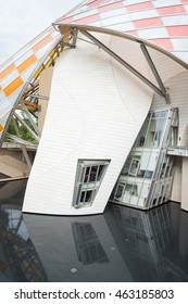 PARIS, FRANCE - JUNE 18, 2016: Detail of the building of the Louis Vuitton Foundation. It is an art museum and cultural center sponsored by the group LVMH and  and designed by Frank Gehry.