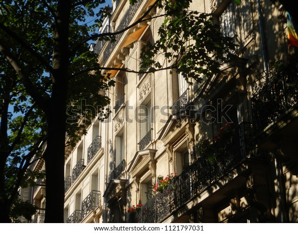paris, france - june 18 2018 : facade of old buildings lighted by evening sun, trees in the foreground