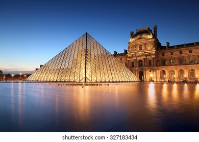 PARIS, FRANCE - JUNE 18 : night scene of the Louvre Museum in Paris on June 18, 2015. Louvre Museum is one of the most popular museums of the world.