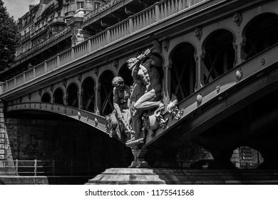 Paris, France - June 19, 2015: Sculptures decorating the two level bridge Bir Akime (Pont de Bir-Hakeim)