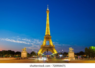 Paris, France - June 19, 2015: night view of Eiffel Tower, a wrought iron lattice tower on the Champ de Mars in Paris, France, named after the engineer Gustave Eiffel