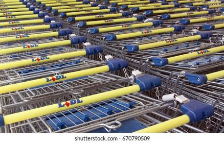 Paris, France -june 19, 2017: lidl shopping carts in paris
