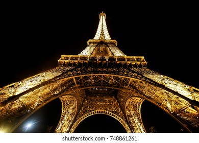 Paris, France - June 19, 2017 View of Eiffel tower on the night, glowing tower