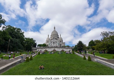 Paris, France, June 19 2018: Looking up hill at beautiful Sacre Coeur Basilicia